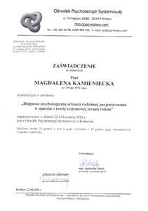 zaswiadczenie_terapia systemowa Krakow